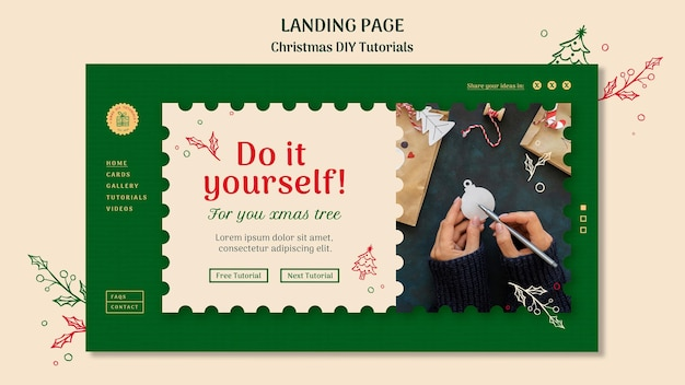 クリスマスdiyチュートリアルテンプレートのランディングページ