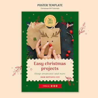 クリスマスdiyチュートリアルテンプレートポスター