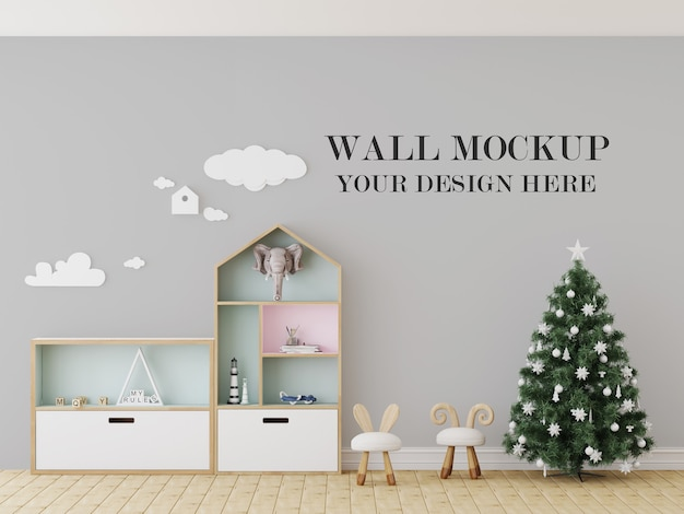 Christmas eve kindergarten wall mockup