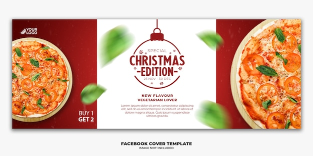 Christmas facebook cover banner template editable for restaurant fastfood menu pizza