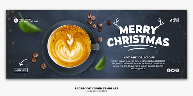 Christmas facebook cover banner template for restaurant food menu drink coffee