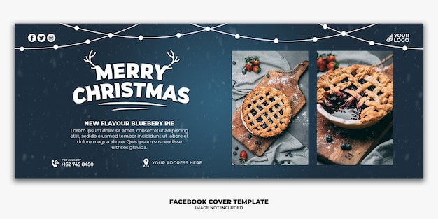 Christmas facebook cover banner template for restaurant food menu pie