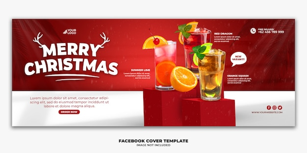 レストランフードメニューのクリスマスfacebookカバー特別ドリンクテンプレート Premium Psd