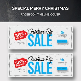 Christmas facebook cover templates set