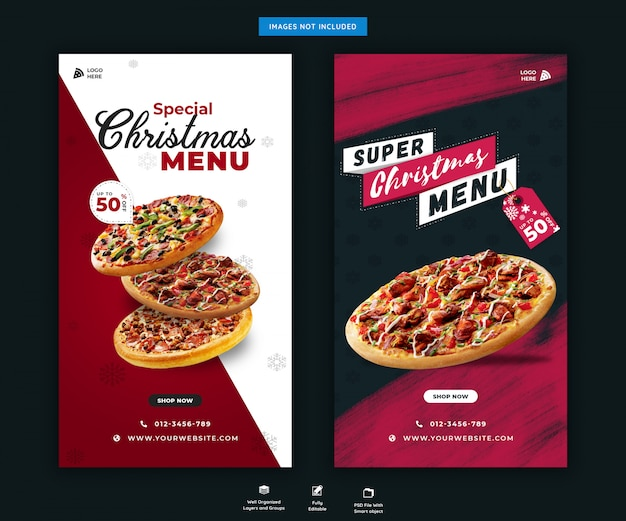 Christmas fast food menu instagram stories template premium psd