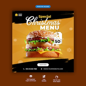 Christmas fast food menu social media post template premium psd