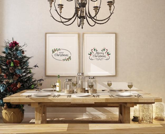 Christmas finningroom with mockup poster frame and christmas tree