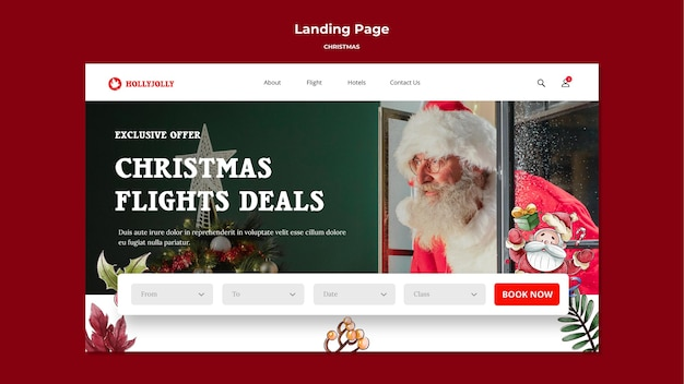 Christmas flights deals landing page template