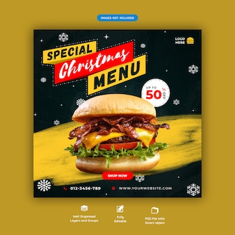 Christmas food banner social media instagram post template premium psd