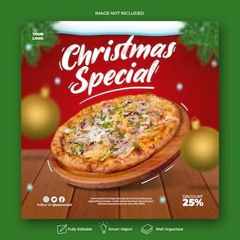 Рождественское меню еды в социальных сетях и шаблон сообщения instagram