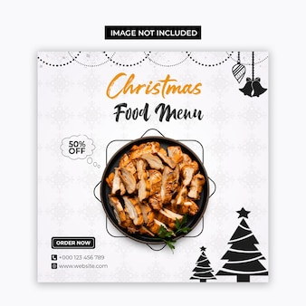 Christmas food menu social media and instagram post template