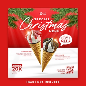 Шаблон баннера для рождественского меню в социальных сетях