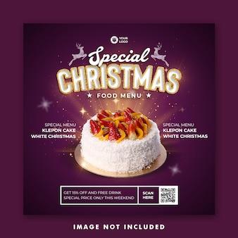 Christmas food menu social media post instagram stories template