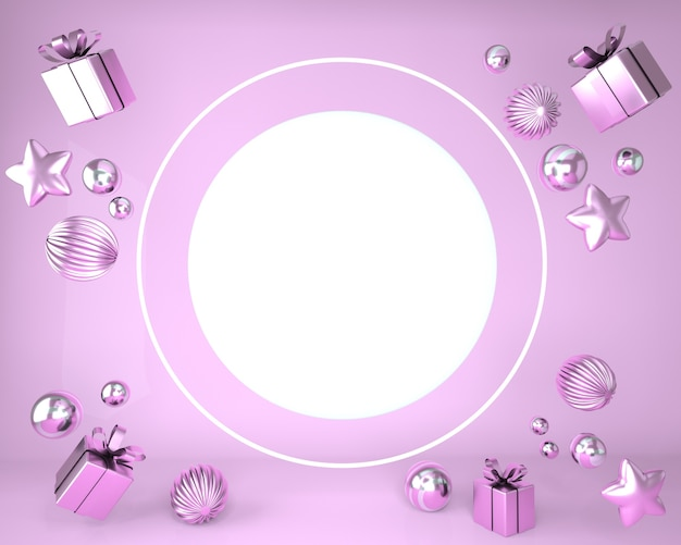 Christmas frame made of festive decorations and gift boxes in 3d rendering