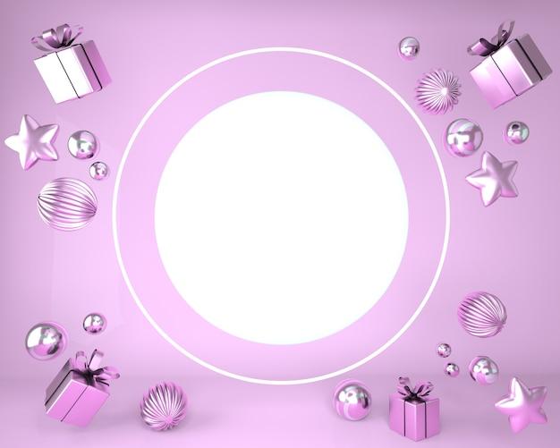 Новогодняя рамка из праздничных украшений и подарочных коробок в 3d-рендеринге