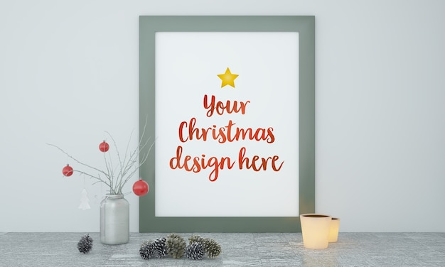 Christmas frame mockup with decoration