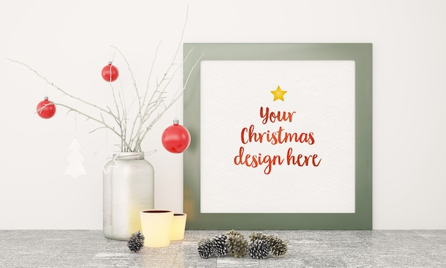Christmas frame mockup with various decoration