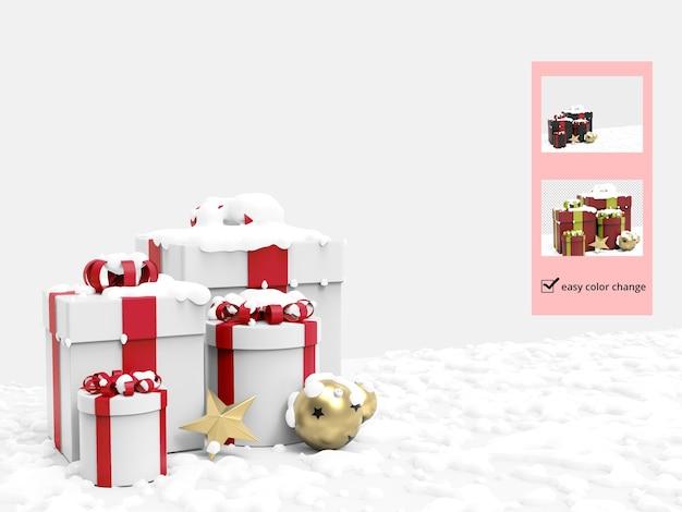Рождественская подарочная коробка и снег с различными украшениями, макет