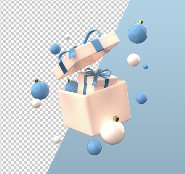 크리스마스 선물 상자 만화 3d 렌더링 절연 프리미엄 PSD 파일