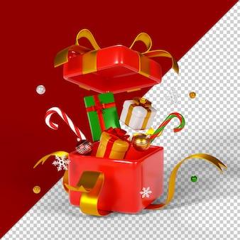 Рождественские подарочные коробки изолированные 3d визуализации