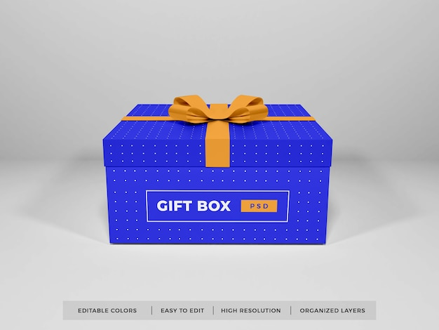 Christmas gift box with ribbon mockup isolated