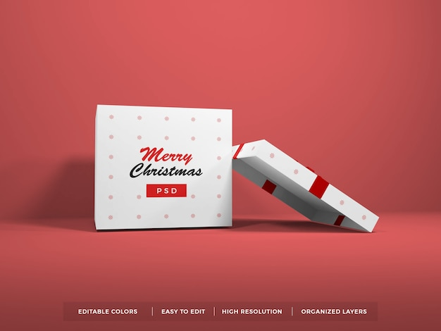 リボンモックアップ付きクリスマスギフトボックス