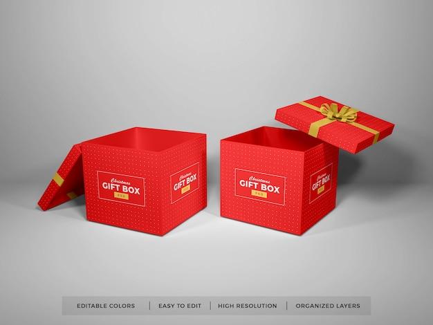 리본 모형과 함께 크리스마스 선물 상자