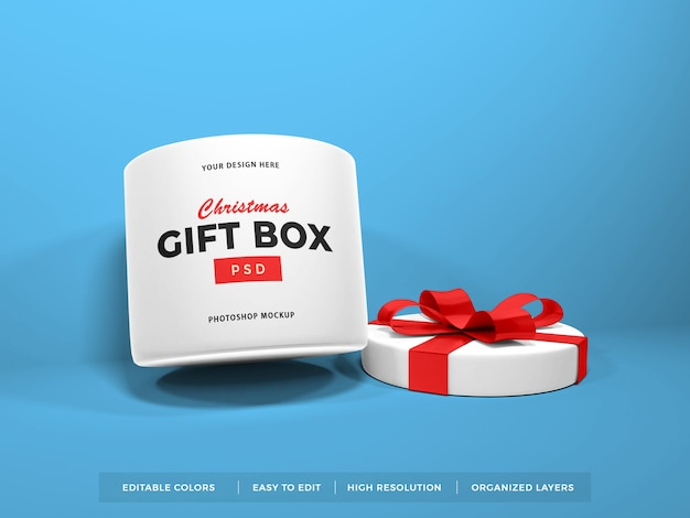Christmas gift box with ribbon mockup