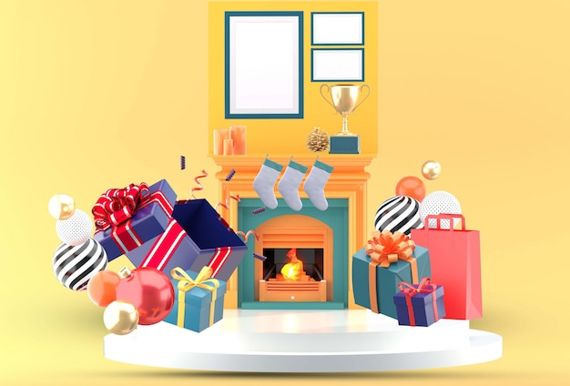 Christmas gift boxes placed around the fireplace.