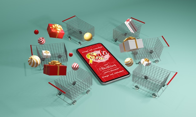 Christmas gift giving concept in 3d rendering