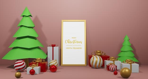 3dレンダリングでクリスマスプレゼントのコンセプトと新年あけましておめでとうございます