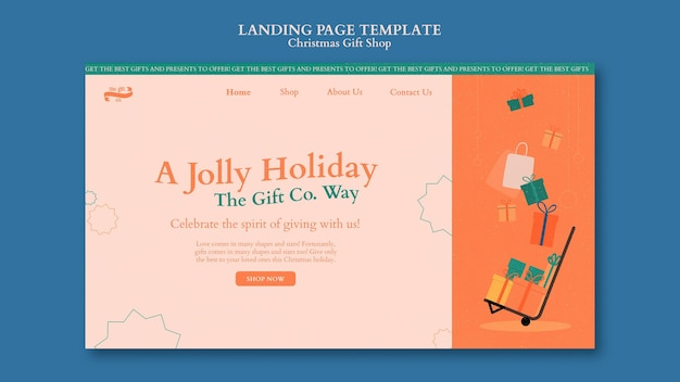 Christmas gift shop landing page design template