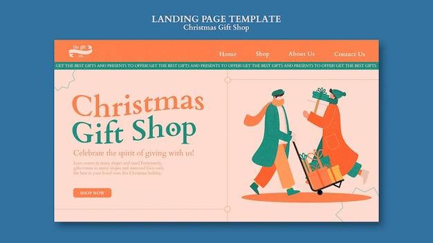 Modello di progettazione della pagina di destinazione del negozio di regali di natale