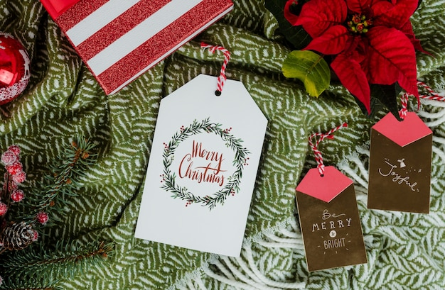 Christmas gift with greeting card tags