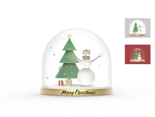 나무와 선물 상자가있는 크리스마스 유리 공 모형