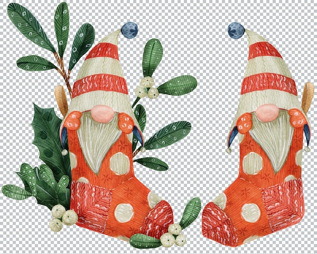 Christmas gnomes in a striped cap. watercolor graphic elements, layered illustration