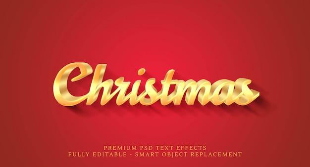 赤に分離されたクリスマスゴールドテキスト効果