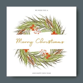 Рождественская открытка, украшенная сосновыми ветками и красными ягодами в акварельном круге