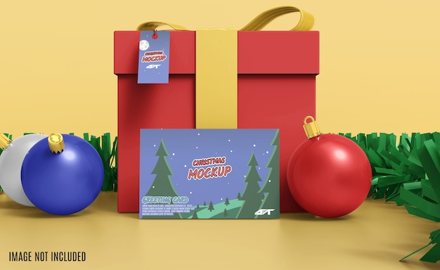 Christmas greeting card mockup 3d rendering