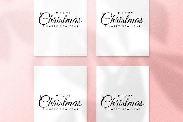 Christmas greeting card mockup psd with palm leaves shadow