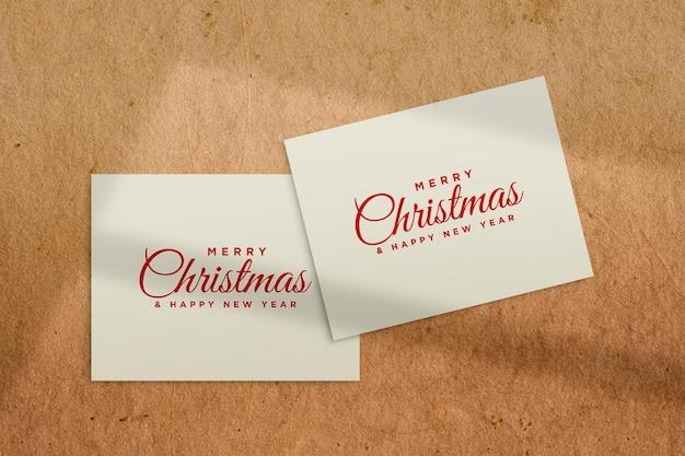 Christmas greeting card mockup psd with shadow