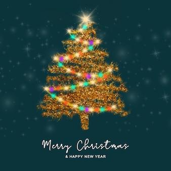 黄金のクリスマスツリーの背景を持つクリスマスグリーティングカード