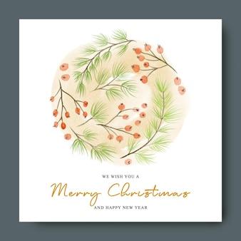 Рождественская открытка с сосновыми ветками и акварельными красными ягодами