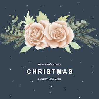 Рождественская открытка с розами и рождественскими украшениями в акварельном стиле
