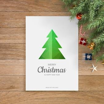 クリスマスの挨拶のデザインのモックアップ