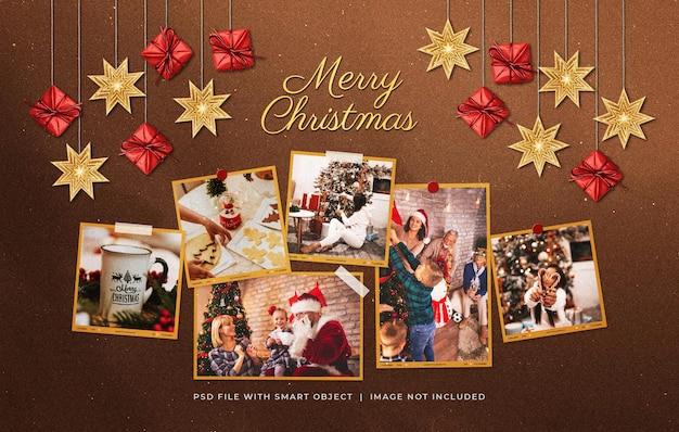 Рождественские поздравления фоторамки макет с висячими украшениями