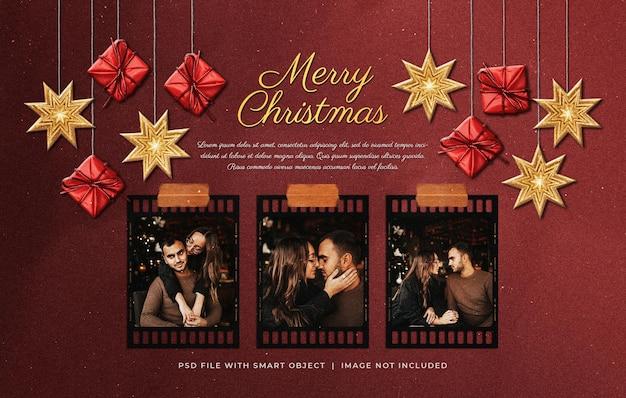 クリスマスの挨拶写真フィルムストリップフレームぶら下げ飾りとモックアップ
