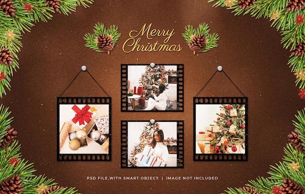クリスマスの挨拶写真フィルムストリップフレームムードボードモックアップ