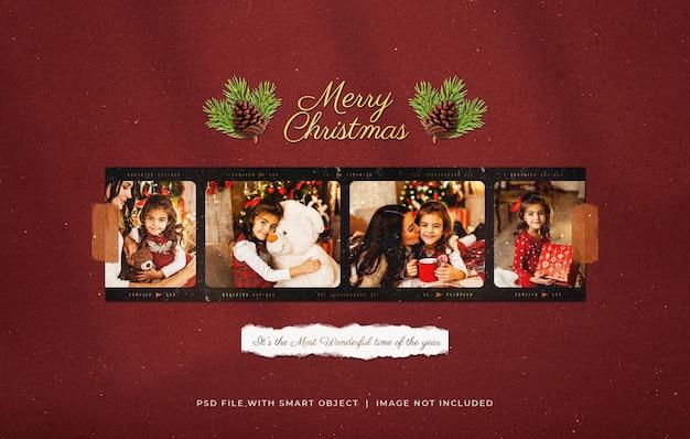 Christmas greeting photo paper film frame mockup
