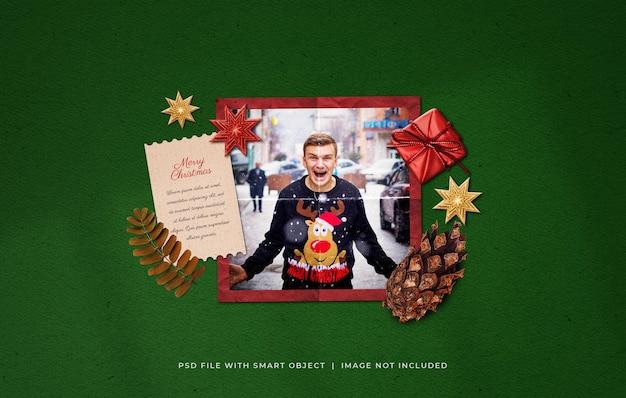 クリスマスの挨拶フォトペーパーフィルムフレームモックアップ